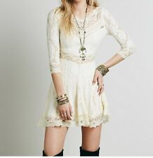 FREE PEOPLE TEA SIZE XS LACE DRESS IVORY LACEY AFFAIR