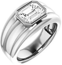 1.50 carat Emerald cut DIAMOND Engagement Solitaire Mens 14K White Gold Ring