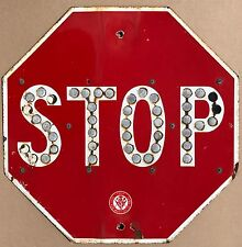 Vintage Red Porcelain Stop Sign California Dept of Public Works Cat Eyes