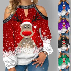 UK Womens Holiday Tee Cold Shoulder Xmas Blouse Ladies Christmas Shirt Elk Tops