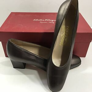 Salvatore Ferragamo Women's Med Heel Dress Shoes (Brown, 7 1/2)