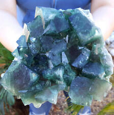 EXQUISITE 5 3/4 INCH EMERALD GREEN COLOR CHANGE FLUORITE CRYSTALS MADAGASCAR