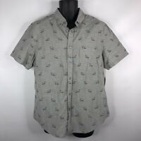 NEW LGBTQ Rainbow Pride Flag Heather Gray Button Down Woven Cotton Shirt Size L