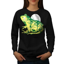 Wellcoda Frog Moon Nature Fantasy Womens Sweatshirt,  Casual Pullover Jumper