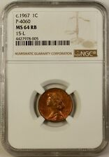 1967 1c Cent Penny Pattern Coin P-4060 NGC MS-64 RB 15-L Red Brown WW