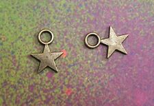 50 Star Flat Charms Silver Metal Small Stars Accent Spacers Pendants Pentacles
