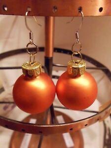 Ohrring Weihnachtsbaumkugel orange Matt  Größe ca. 2,5 cm Glas 001