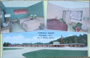 Meridian, MS 1940s Postcard: Virginia Court Motel Interior - Mississippi Miss