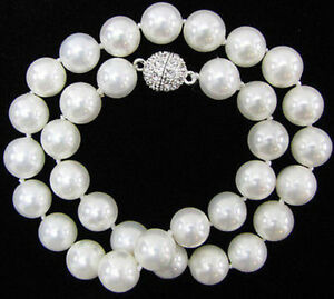 22inches 10mm Genuine AAA White South Sea Shell Pearl Necklaces