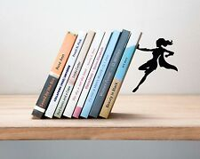 ARTORI Design Supergal Bookend Women Superhero Book End Stopper Holder Metal