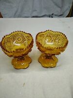 Kemple Wheatonware Amber/Gold Compote Footed Candy Dish Hobstar and Fan Pattern