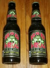 Lot of 2 BAD FROG ATTITUDE BEER BOTTLE W CAP GLASS HE DON'T CARE MICHIGAN USA