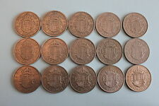 Half Crown Collection  Set of 15 dates 1953 to 1967 - Good Condition - date run