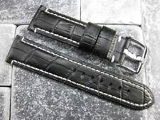 22mm Black Gator Grain Leather Strap Tang Buckle Watch Band PAM 40mm 22