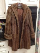 SILVERMAN FURS NEWPORT NEWS, VA. - TRUE VINTAGE BROWN FUR COAT WITH POCKETS - L