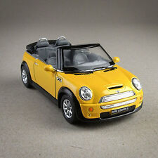 Yellow Diecast Mini Cooper S Convertible Model Car 1:28 Scale 12cm 2009 Pullback