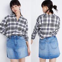 Madewell Rigid Denim A Line Mini Skirt Size 25 Leandra Cotton Raw Hem