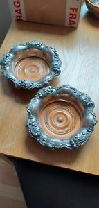 Pair Antique Victorian Silver Plated Wine Coasters
