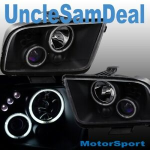 05-09 FORD MUSTANG SUPER BRIGHT LED HALO RIMS CLEAR PROJECTOR BLACK HEADLIGHTS