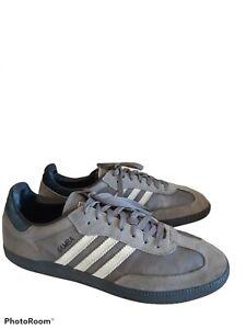 Adidas Originals Samba Men's 12 Trefoil Tongue Soccer Sneaker Grey/White G47726