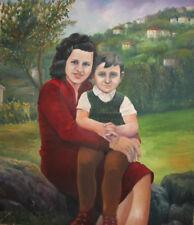 1983 Woman & Child Portrait Naive Art Oil Painting Signed