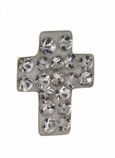 da uomo Orecchino cristallo Croce BOTTONE Orecchino 9ct ORO GIALLO orecchino