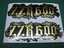 2 ZZR600 RELENTLESS STYLE STICKERS MIRROR GOLD ON BLACK