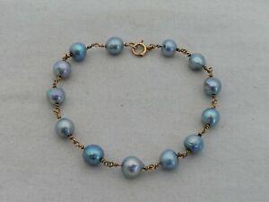 "Estate 14K Gold & Baroque Gray Pearl 7.5"" Bracelet MA-7"