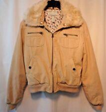 Aeropostale Juniors XL Tan Corduroy Full Zip Jacket Removable Fake Fur Collar