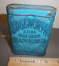 VINTAGE Edgeworth 4 x 3 x 1 inch tobacco tin, great colors & graphics, pocket