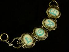 Love Links Bracelet Cameo Style Blue Letters Brass-Tone Engraved
