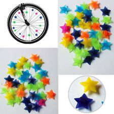 Colorful 36Pcs Bicycle Spoke Star Beads Bike Wheel Spoke Clip Reflector Decor