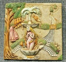 Harmony Kingdom Picturesque Fountain Blue Byron'S Garden Tile Plaque Pxgc2