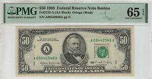 1988 $50 FEDERAL RESERVE NOTE BOSTON FR.2123-A PMG GEM UNC 65 EPQ (946A)