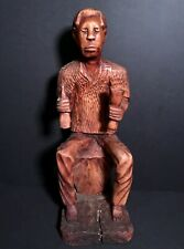 Early 20th C FOLK ART HAND CARVED WOOD OF SEATED AFRICAN AMERICAN DRINKING,EXCEL