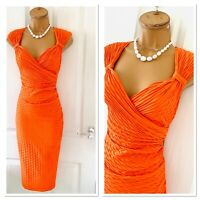 JOSEPH RIBKOFF Orange Textured Stretchy Bodycon Dress Uk Size 14
