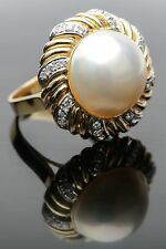 Mabe Pearl Ring with 7.88 gms 14K Yellow Gold and .72 cts of Diamonds