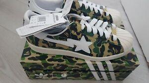 "Adidas x BAPE ""Bathing Ape"" Superstar Green Camo - UK size 9, BNIBWT"
