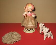 Vintage Ceramic Mary Had a Little Lamb Figurine Mary w 2 Lambs on Chain Japan