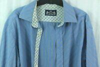 Robert Graham Flip Cuff Shirt XL Blue Striped Button Front Casual wisdom truth