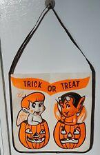 Vintage 1960s Halloween 3D Plastic Devil and Angel Trick or Treat Bag