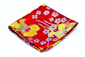Lord R Colton Masterworks Pocket Square Ruby & Yellow Aftermath Silk $75 Retail