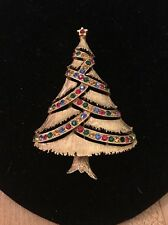 Vintage Rhinestone Christmas Tree Pin Brooch Signed JJ Multi Colored Stones