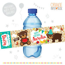 10 X Personalised TEDDY BEARS PICNIC Birthday Party Water Bottle Label Stickers