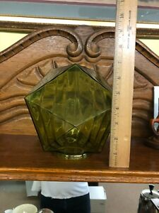 VINTAGE GREEN GLASS GEOMETRIC FIGURAL FACETED LAMP LIGHT FIXTURE GLOBE SHADE