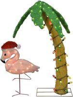 Christmas tinsel Flamingo & Decorated Palm Tree Yard Decor
