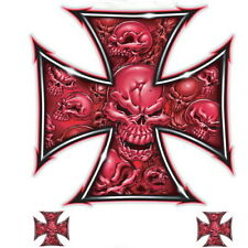 Lethal Threat Red Iron Cross Skull Decal 6x8 Sheet