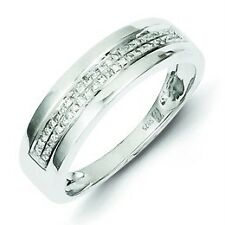.925 Sterling Silver Polished Double Row 0.12ct Diamond Round Band Ring Size 8
