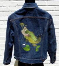 Vintage Hand Painted Bass Levis Denim Trucker Jacket 70505 0217 Size 42 USA