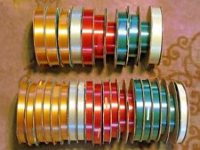 Large Lot 31 spools rolls Lusteray Waterproof Ribbon Red Silver Green Gold White